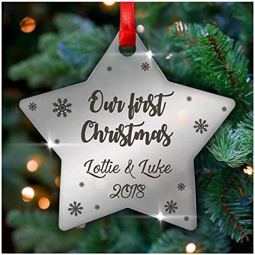 personalised our first christmas couples xmas tree decoration bauble ornament gifts husband wife boyfriend girlfriend partner 3mm mirror acrylic christmas