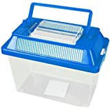 Small Animal Keeper Clear Plastic Box Tank With Ventilated Opening Lid Carry Handle Insects Spiders Reptiles Live Food Blue