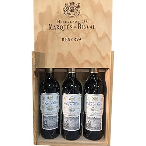 Caja de madera 3 botellas - Márques de Riscal Reserva 2012 - Vino tinto