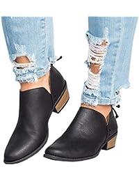 856be4f1 Botines Mujer Tacon Medio Planos Invierno Tacon Ancho Piel Botas Botita  Moda 3cm Casual Planas Zapatos