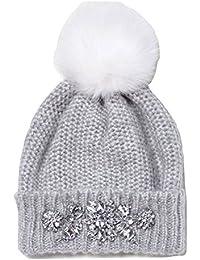 f74279c9536 River Island Ladies Grey Jewel Embellished Bobble Hat