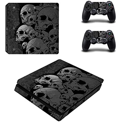 DOTBUY Ps4 Slim Playstation 4 Slim Consola Design Foils Vinyl Skin Sticker Decal Pegatina And 2 Dualshock Controlador Skins Set (Skulls)