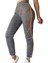 29429fbe21 Naliha Pantalones De Salón Elásticos De Cintura Alta A Cuadros Pata De  GalloPantalones De Tobillo para