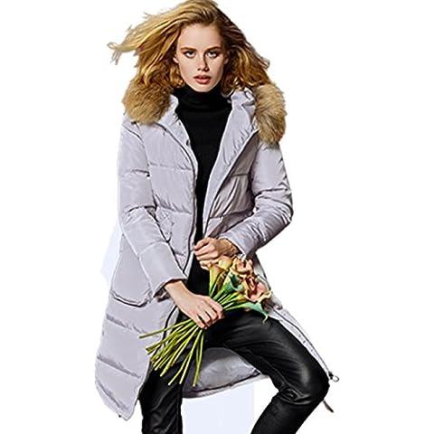 XYXY Down Jacket Mujeres abrigo de invierno con capucha caliente largo Down Jacket . gray . xxxl