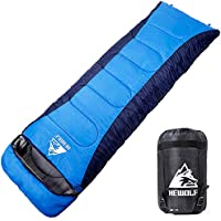 Hewolf Mummy Sleeping Bags for Adults All Seasons Camping–Extra Large Warm Lightweight Spliced Envelope Sleeping Bags with Compression Sack Ideal Gear for Hiking Backpacking - 220×75cm