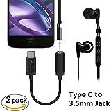 Tipo C a 3.5mm Audio Speaker Headphone Conector de adaptador estéreo, AblerV 2 Pcs USB 3.1 / USB C a 3.5mm Audio Micrófono Adaptador Femenino para MOTO Z / MOTO Force (Negro)