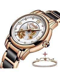 ea851b330422 SUNKTA Lujo Oro Rosa Cerámica Reloj de Dama Impermeable Cuarzo analógico  Reloj por Mujer Casual Negocios Elegante Vestido…