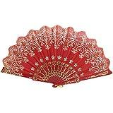 Estilo Chino Purpurina Tejido Floral Plegable Baile Abanico Rojo