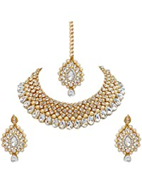Lucky Jewellery Stunning Various Color Stone Gold Plated Necklace Set For Girls & Women (726-ISS-823-G-Parent)