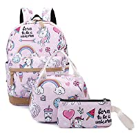 Gimay Girls School Backpack Unicorn Teens Bookbag Set Kids bag School Laptop Backpack with Lunch Box Purse (Pink)