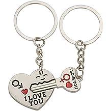 Haoduo llavero de corazón y una llave de corazón Anillo llavero Set de amantes de pareja, dulce regalo para San Valentín Boda de Navidad, llavero de aleación de zinc
