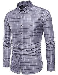 Sannysis Camisa Casual a Cuadros Manga Larga para Hombre Multicolor de Vestir Camisetas Hombre Manga Corta Moda Personalidad…