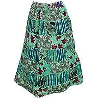 Mogul Interior Womens Patchwork Skirt Green Printed Cotton Boho Hippie Retro Skirts