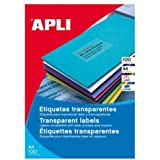 Apli 1225 - Etiquetas transparentes para impresoras láser y fotocopiadoras,  210 x 297 mm, 20 hojas
