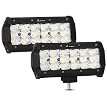 "AAIWA Led Light Bar, 2 Pack 7"" 54W LED Work Light Bar Offroad Flood Lights Triple Row LED Driving Fog FloodLights for Truck SUV ATV Boat LED Light, 2 Years Warranty"