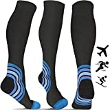Flight Socks for Women & Men (20-30 mmHg) - Best Travel Compression Socks for Flying - Travel - Pro Sports - Running - Athletics - Nurses - DVT - Pregnancy - Skiing - Blood Circulation (Pair)
