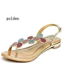 SBL Sandali strass donna estate piatta con sandali in pelle e ciabatte infradito  infradito basse in a24c440f96a