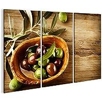 Cuadro Cuadros Aceitunas y aceite de oliva Impresión sobre lienzo - Formato Grande - Cuadros modernos