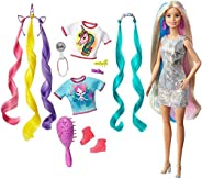 Barbie Fantasy Hair Doll, Blonde, with 2 Decorated Crowns, 2 Tops & Accessories, for Kids 3 to 7 Years Ol