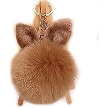 URSFUR Mullido pompón Ronda oreja de conejo bolsa colgante llavero novedoso regalo