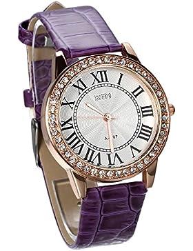 JewelryWe Damen Armbanduhr, Analog Quarz, Exquisite Leder Armband Uhr mit Strass Römischen Ziffern Zifferblatt...