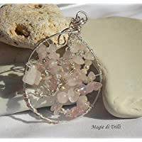 Magie di Trilli -Tree life - Collana da donna artigianale con ciondolo- Albero della vita con chips di quarzo rosa -Idea regalo