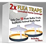 2x ULTIMATE trampas para pulgas por Medipaq® + 12 discos pegajosos - La SÓLO 15 vatios Trampa en Amazon - Replica Verdaderamente cuerpo animal calor - la más efectiva en el mercado