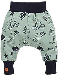 Pinokio - Xavier - Baby Hose 100% Baumwolle, dunkelblau-schwarz - Jogginghose, Haremshose Pumphose Schlupfhose-XO- elastischer Bund, unisex