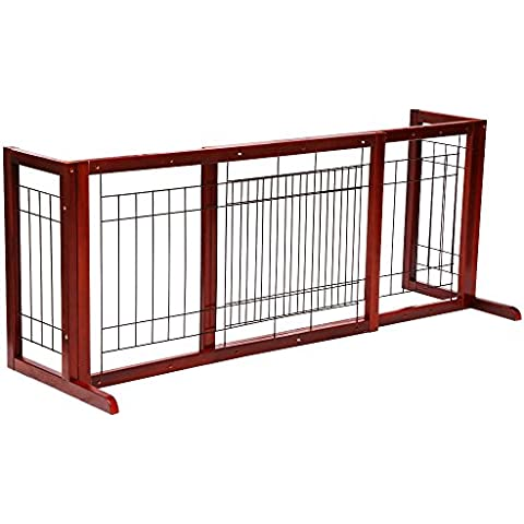 Hoddmimis Pet Supplies Solid Wood Indoor Freestanding Adjustable Pet Gate Fence