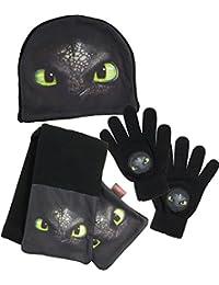 Dreamworks Dragon Kinder Winter 3er Set: Mütze, Handschuhe, Schal, schwarz