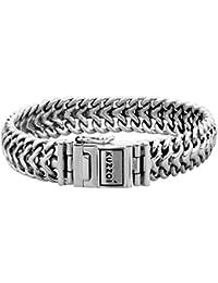 """KUZZOI """"Buddha"""" Silber-Armband für Herren, handgefertigtes Panzer-Armband aus echtem, massiven 925er Sterling Silber, luxuriöses Herren-Armband mit Kuzzoi-Gravur, 15mm breit, 120g schwer 335108"""