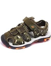 c7f52cfb9d776 CCZZ Garçon Fille Sandales Bout Fermé Respirant Mesh Enfant Chaussures de  Marche Confortables Flexibles Extérieur Sandales