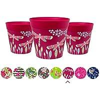 Macetas, juego de 3 macetas coloridas, rosadas, de hierbas para interior/exterior.