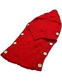Domybest - Manta infantil de lana tejida, convertible en saco de dormir, mantiene la