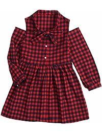 Sanlutoz Vestido de Niña de Cuadros Vestido de Moda de Fiesta Rojo Ropa de Niños de
