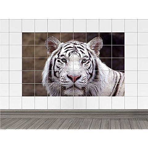 Tile Mural tigre blanco con los ojos azules (azulejo: 20x25cm // Imagen: 150x100cm (BxH))