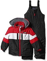 London Fog Little Boys' 2-Piece Snow Bib and Jacket Snowsuit, Red/Black, 4