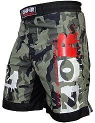 ZOR Pantalones cortos para deportes de contacto, UFC, MMA, lucha, Muay Thai, boxeo, kickboxing, diseño de camuflaje urbano del ejército o camuflaje verde, Camou-Green