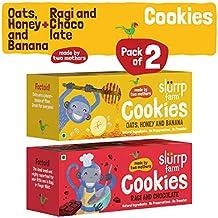 Slurrp Farm Healthy Wholegrain Cookies, Ragi, Chocolate, Oats, Honey And Banana With Zero Transfat, Yummy Snack For Kids, 75g (Pack Of 2)