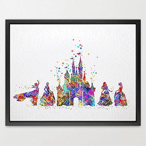 dignovel Studios Disney de Cenicienta princesa y castillo de la acuarela Arte impresión Kids Wall Art Póster de las niñas habitación Decor Art para colgar en la pared, cumpleaños, bodas regalo