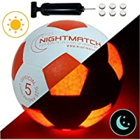 NIGHTMATCH Light Up Football INCL. BALL PUMP and SPARE BATTERIES - Inside LED lights up when kicked - Glow in the Dark Soccer Ball - Size 5 - Official Size & Weight - Top Quality - white/orange