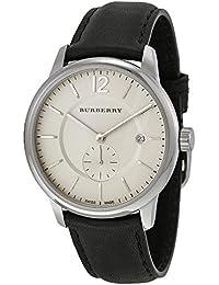 1d95e184629c Burberry classique rond Beige Cadran Cuir Noir montre pour homme Bu10000