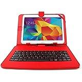 """Etui rouge + clavier intégré AZERTY pour Samsung Galaxy Tab 4 (SM-T530/T533), Tab A 9,7"""" (T550) et Tab A 10.1 (2016) T580 tablettes 10.1"""" - stylet tactile BONUS + Garantie DURAGADGET de 2 ans"""