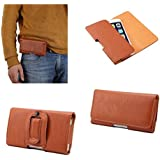 DFV mobile - Case belt clip synthetic leather horizontal premium for => SUNSTECH USUN250 / USUN 250 > Brown