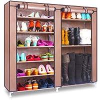 Preisvergleich für BLOIBFS MEI Schuhrahmen Einfache Mehrschichtige Kombination Schuhregal Wirtschaft Hause Schlafsaal Lagerung Staub Tuch Schuhe,Coffee