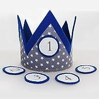 Geburtstagskrone für Kinder Stoffkrone mit Wechselbuttons - Handarbeit - blau | Kinder-Geburtstags-Krone für Jungs und Mädchen | Kindergeburtstag Geburtstagskind