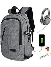 Mochila de ordenador portátil de negocios Bolsas de la escuela de la universidad con el puerto de carga y auriculares USB Mochila de viaje antirrobo impermeable para hombres y mujeres, 15.6 pulgadas aptas Tabletas de portátiles - Gris