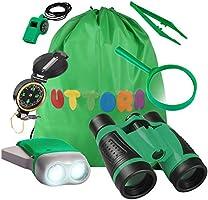 UTTORA Set di Binocolo per Bambini, 7 in 1 Giocattoli per Avventurose Esplorazioni della Natura, Binocolo, Torcia a LED...