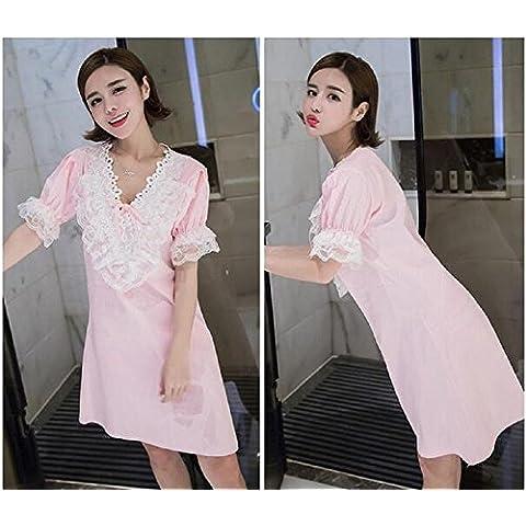 cotone manica corta delle donne Lace up pizzo Pullover Dress pigiama Un formato , pink ,