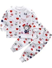 Pijamas de bebé recién nacido Conjunto de manga larga de cárdigan y pantalón elástico 2 piezas Homewear